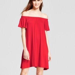 Red off shoulder mini dress